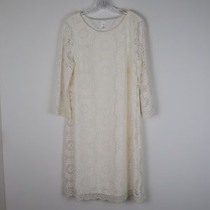 London Times Ivory Floral Lace Shift Dress 16